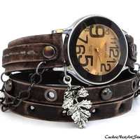 Wrap Watch, Womens leather watch, Bracelet Watch, Wrapped Wrist Watch, Antique brown, Vintage Style watch