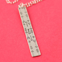 Valentine Necklace - Love Initials Necklace - Arrows - Custom Hand Stamped Necklace - Valentines Day