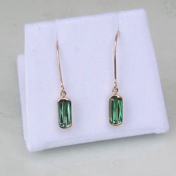 Tourmaline 14k Yellow Gold Bezel Set Dangle Earrings Fine Gemstone Earrings October Birthstone
