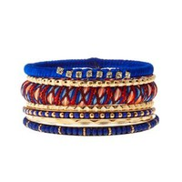 Beaded & Embroidered Bangles - 7 Pack by Charlotte Russe - Cobalt