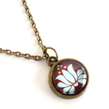 Namaste Lotus Necklace Yoga Jewelry Bohemian Mothers Day Earthy Etsy Unique Gift For Her Birthday Under 20 Item E38