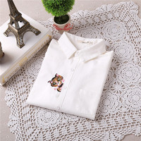 Brand New Cat Print Blouse Embroidery Blusas Femininas Long Sleeve Turn Down Collar Casual Fashion Work Shirts With Button 70020 GS