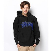 Stussy x Champion Woman Men Fashion Print Top Sweater Pullover Hoodie