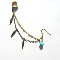 Turquoise feather ear cuff by byuma on Etsy