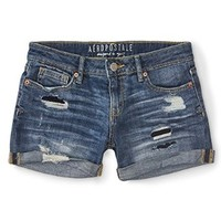 Aeropostale Women's Destroyed Medium Wash Denim Midi Shorts