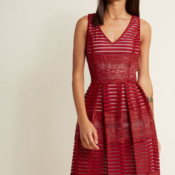 Sleeveless Lace Fit and Flare Dress in Ruby