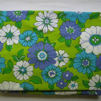 Vintage Bedding FULL Size Fitted Sheet Groovy Flowers Green Purple Blue Flower Power MOD Kids Bedding Clean UNUSED