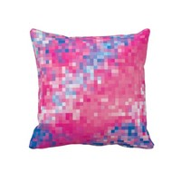 Modern Pink Blue & Purple Abstract Mosaic Squares Pattern Pillow- Colorful Pillow-Home decor,living room,bedroom, dorm,decorative pillows
