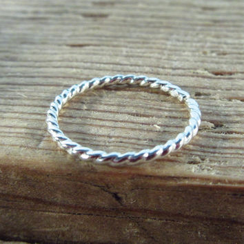 Toe Ring Sterling Silver Dotted Twist Adjustable