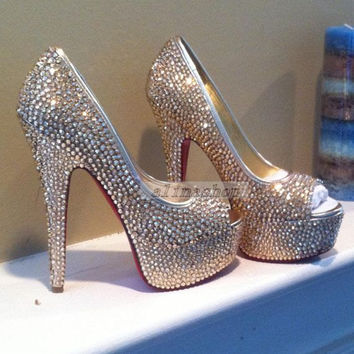 Wedding shoes bridal crystals heels clean/sliver crystals bright heels brilliant sparking bridal shoes-Red Soles Peep Toe heels