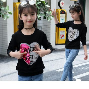 Fashion Girls T-shirt Sequins Autumn Long Sleeve Wweatshirts for Teeange Kids Cotton Love Tops Children Sport Sequins Clothes