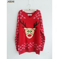 New-arriving Rudolph the Red Nose Reindeer Wearing Glasses Ugly Christmas Sweaters for Women S-XL