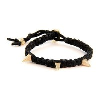 Black Leather and Gold Pyramid Spike Bracelet