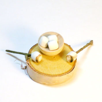 Miniature Food Toasted Marshmallows for Dollhouse Fairy Garden on Wood Stump