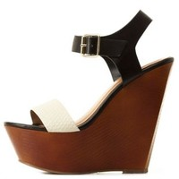 Color Block Platform Wedge Sandals by Charlotte Russe