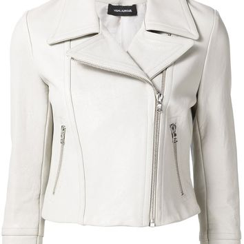 Moto Leather Jacket In Ice Grey by Yigal Azrouël
