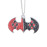 DC Comics Harley Quinn Batman Bling Logo Necklace