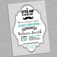 It's a Boy! Little Man Mustache Custom Baby Shower Invitations - Personalized with 24hr turn around. Printable 4x6 or 5x7 Image
