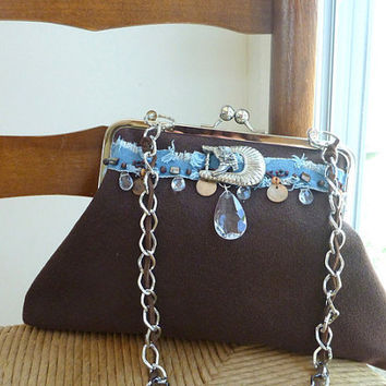 Fabric handbag, clutch, country western, rustic wedding, denim, brown, horses, western chic, chain handle, snap frame