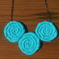 Aqua Blue Rosette Bib Necklace - Rolled Fabric Flower Necklace - Jewelry for Weddings, Birthdays, Everyday