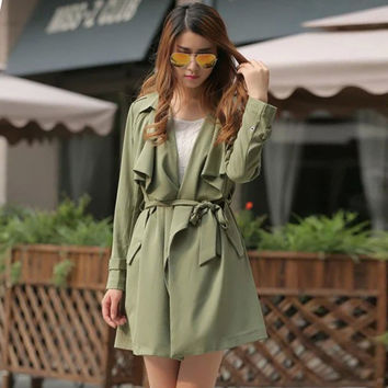 Long Sleeve Ruffled Collar Belted Fall Coat