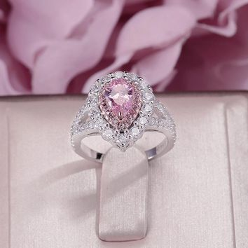 Fine Jewelry Rings For Women 925 Silver Pink Cubic Zirconia Water Drop Stone Luxury Wedding Bridal Jewelry Engagement Ring