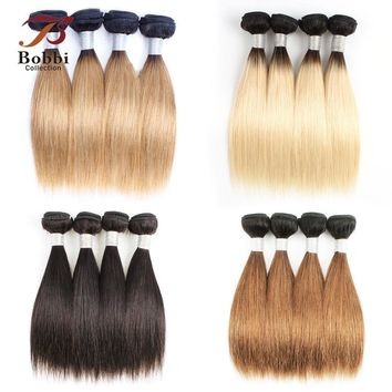 Bobbi Collection 4 Bundles 10 inch T 1B 27 Dark Root Honey Blonde Bundles 50g/pc Short Bob Style Ombre Straight Human Hair Weave