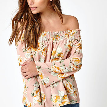 LA Hearts Long Sleeve Smocked Off-The-Shoulder Top at PacSun.com
