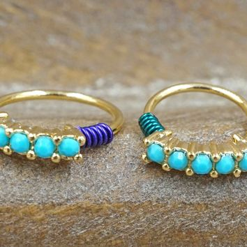 Gold Nose Hoop with Turquoise Gems