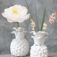 """Pineapple Ceramic Floral Vase in White - 6"""" Tall x 4"""" Wide"""
