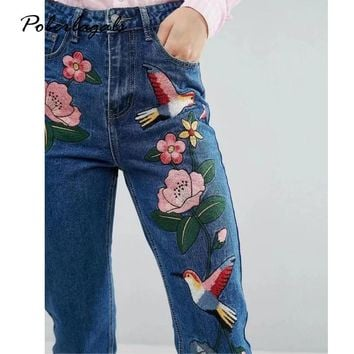 Denim embroidery jeans woman bottoms 2017 Summer Women waist Embroidered Birds female Casual blue jeans pants capris women