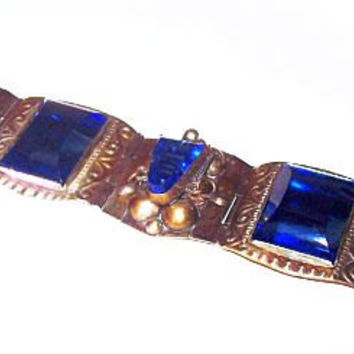 "Taxco Sterling Silver Blue Bracelet Signed Mexico Eclectic Stones Panel Link Style Tribal 8"" Vintage"