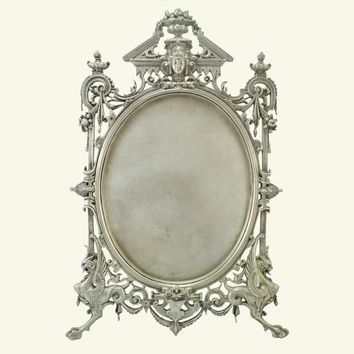 1880s Renaissance Revival Silver Vanity Table Mirror