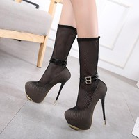 Mesh Round Toe Platform Stiletto Super High Heels Half Boots
