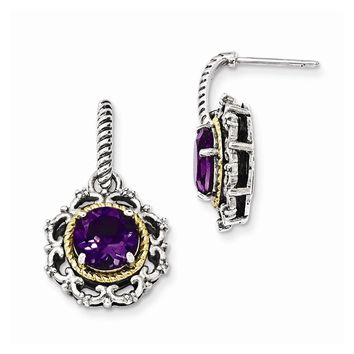 Sterling Silver w/14k Gold Antiqued Amethyst and Diamond Post Earrings