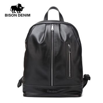 "Genuine Leather Backpack 14"" Laptop School Bag Fashion Male Backpack for Teenager Leisure Travel backpack Men Women"