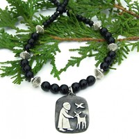 St. Francis Necklace, Deer Dove Pewter Pendant Black Onyx Spiritual Handmade Jewelry