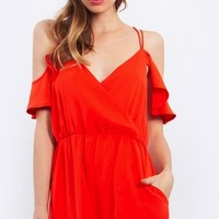 Olivia Open Shoulder Romper*