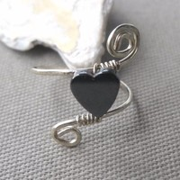 Hematite Black Heart Wrapped Hammered Silver Wire Twist Ring Size 7