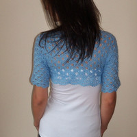 Wedding elegant mohair bolero shrug/ Bridesmaids soft bolero shrug/ Light blue crochet bolero shrug