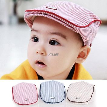 9fa016e5589 Cute Baby Kids Infant Boy Girl Stripe Beret Cap Peaked Baseball Hat