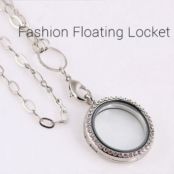New Round Crystal Silver/Gold Floating Charm Memory Living Locket Necklace = 1945695428