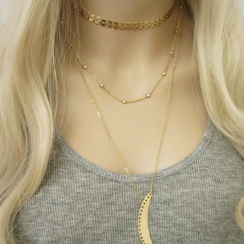 Mini Ball Chain Necklace / Beaded Chain Necklace / Tiny Gold Chain / Gold Round Charm / Minimal Jewelry / Layered Necklace / N292