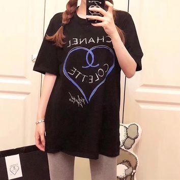 Chanel Women Casual Fashion Graffiti Letter Love Heart-shaped Pattern Print Short Sleeve T-shirt Shirt Top Tee