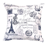 Blue Pillow Cover- Vintage Pillow- French Stamp Pillow- Decorative Pillow- Covers 16 x16, 17 x 17 or 18 x18