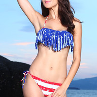 Stars and Stripes Fringe Bandeau Bikini