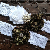 Camo Wedding Garter Set Camo Wedding Garter by TheRaggedDiamond