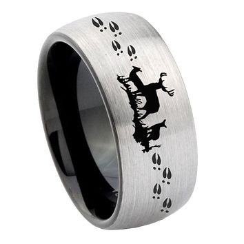 8mm Deer Hunting Dome Tungsten Carbide Silver Black Wedding Band Mens