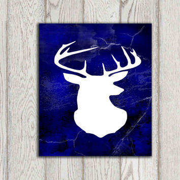 Deer head printable Navy  textured background print Navy home decor White stag silhouette Wall art Woodlands animal decor INSTANT DOWNLOAD