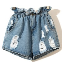 High Waist Flipped Flouncing Denim Short